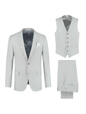 gents Pakken Slimfit kostuum 3-delig uni ijsblauw 0076