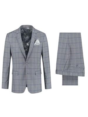 gents Pakken Slimfit kostuum ruit grijs-blauw 0077