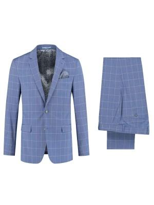 gents Pakken Slimfit kostuum ruit lichtblauw 0078