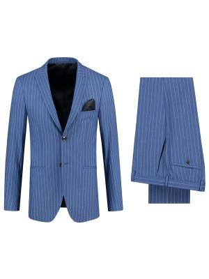 gents Pakken Slimfit Pak streep blauw 0108