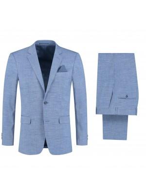 gents Pakken Slimfit Pak linnenlook lichtblauw 2delig 0122