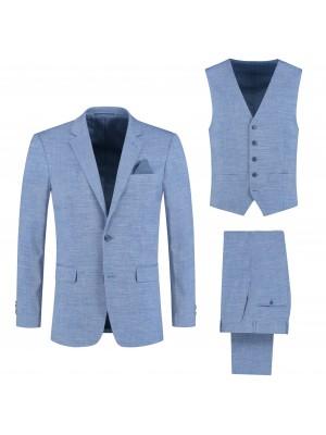 Pakken Pak linnenlook lichtblauw 3-delig