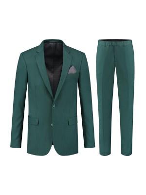 gents Pakken Slimfit Pak linnenlook groen 0123