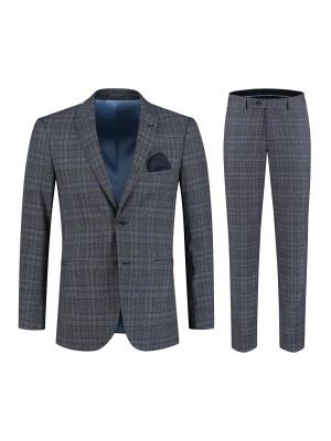 gents Pakken Slimfit Kostuum ruit blauw-grijs 0133