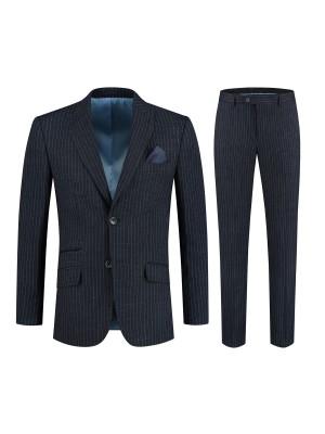 gents Pakken Slimfit Kostuum streep blauw 0134