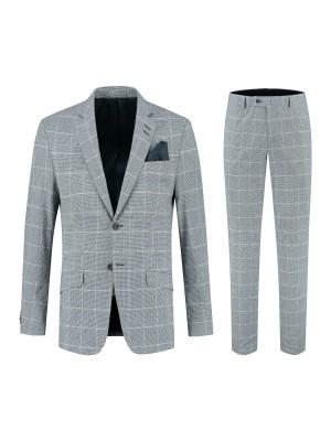 gents Pakken Slimfit Kostuum ruit blauwgrijs 0138