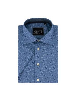 gents Shirts Gents korte mouw bladprint blauw 0301