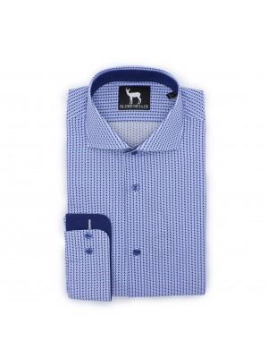 Overhemd Blumfontain print blauw 0411