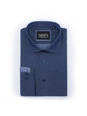 gents Shirts Overhemd Chambray print blauw 0471