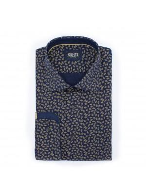 gents Shirts Overhemd Print blaadjes zwart 0474