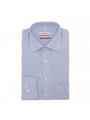 no label Shirts Marvelis modern-fit streep blauw 0506