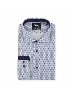 blumfontain Shirts Blumfontain bloemprint wit-blauw 0507