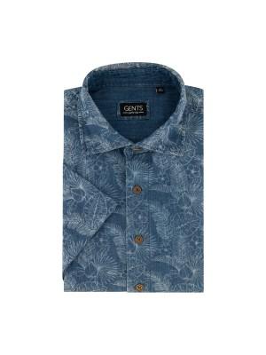 Overhemd print denim 0554