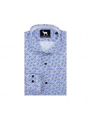 blumfontain Shirts Blumfontain bloemprint blauwbeig 0560