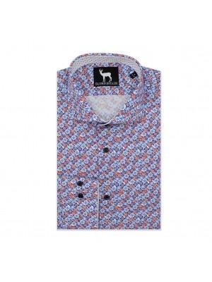 blumfontain Shirts Blumfontain bloemprint blauwrood 0561