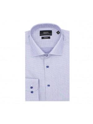 gents Shirts GENTS slimfit print symbol blauw 0566