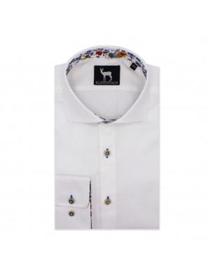 blumfontain Shirts Blumfontain uni contrast wit 0567