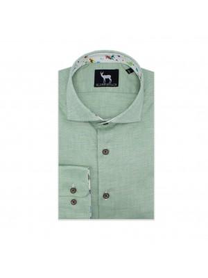 blumfontain Shirts Blumfontain uni contrast groen 0571