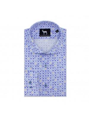 blumfontain Shirts Blumfontain print wit-blauw 0573