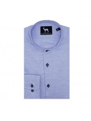blumfontain Shirts Blumfontain mao kraag lichtblauw 0586