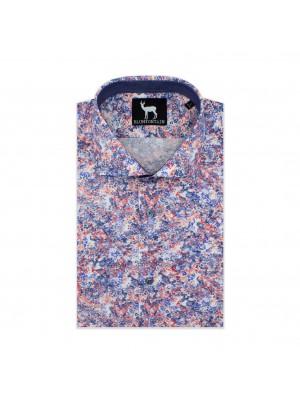 blumfontain Shirts Blumfontain KM print blauw-rood 0599