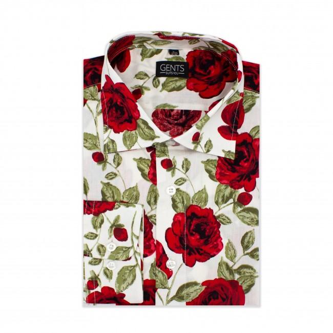 Overhemd print roos wit-rood 0609  GENTS.nl   Hoogste kwaliteit voor de laagste prijs