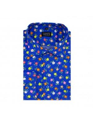 gents Shirts Overhemd print bloemetje kobalt 0610