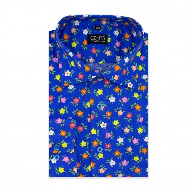 Overhemd print bloemetje kobalt 0610| GENTS.nl | Hoogste kwaliteit voor de laagste prijs