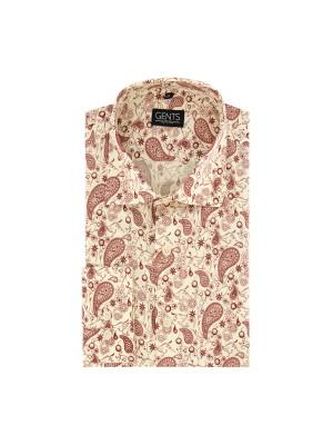 Overhemd print paisley wit-rood 0668
