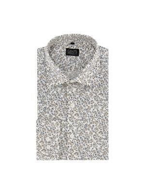 Overhemd print bloemetje wit 0669