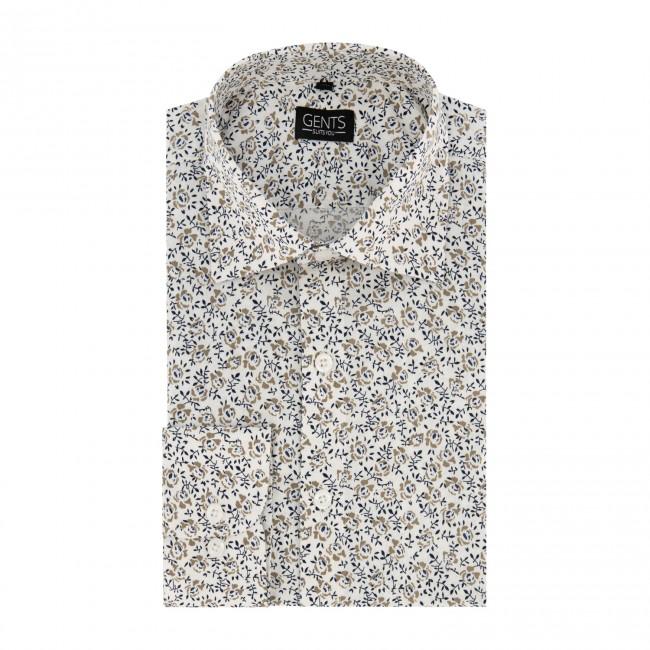 Overhemd print bloemetje wit 0669| GENTS.nl | Hoogste kwaliteit voor de laagste prijs