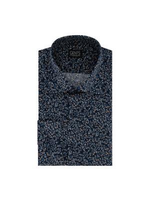Overhemd print bloemetje blauw 0671