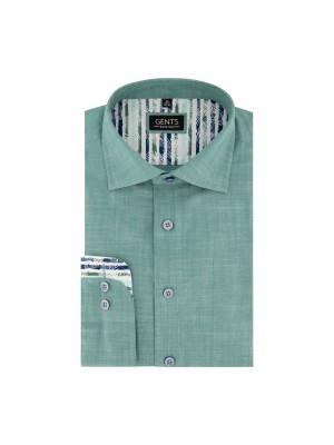 gents Shirts Overhemd linnenlook groen 0676