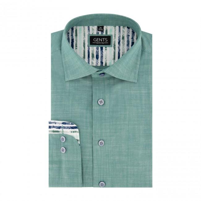 Overhemd linnenlook groen 0676| GENTS.nl | Hoogste kwaliteit voor de laagste prijs