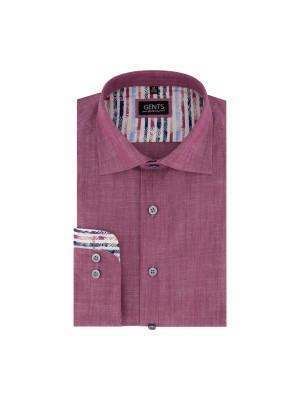 gents Shirts Overhemd linnenlook cerise 0677