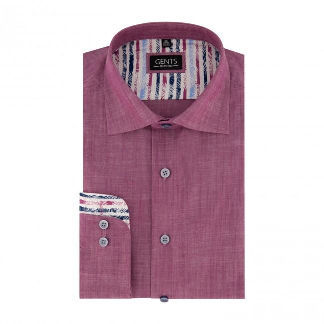 Overhemd linnenlook cerise 0677  GENTS.nl   Hoogste kwaliteit voor de laagste prijs