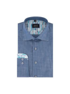 gents Shirts Overhemd linnenlook blauw 0678