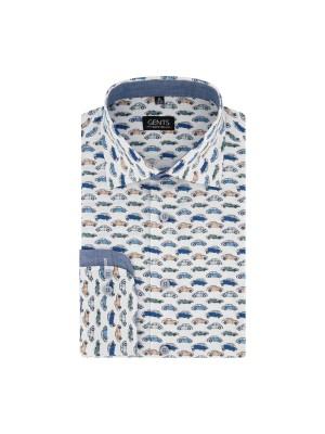 gents Shirts Overhemd print auto oranje-blauw 0679