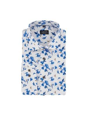 Overhemd print magnolia witblauw 0680