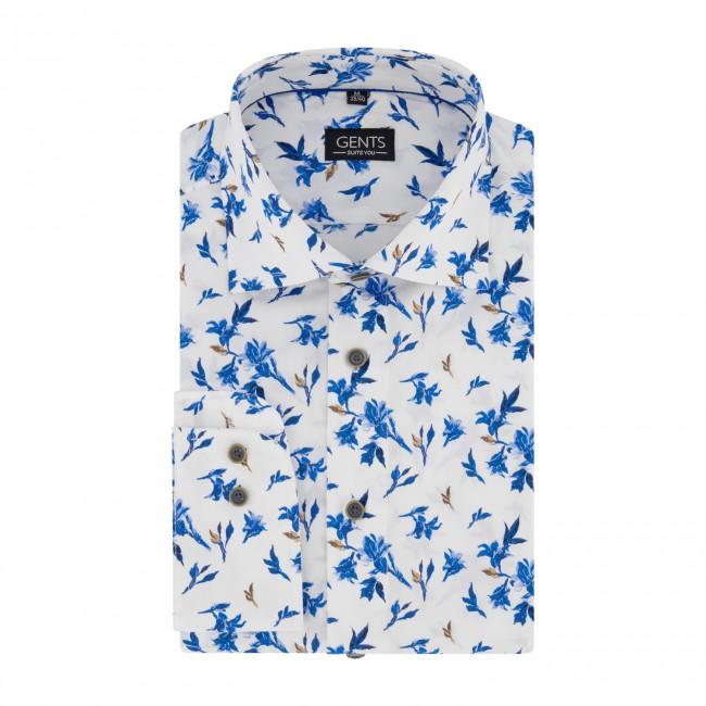 Overhemd print magnolia witblauw 0680| GENTS.nl | Hoogste kwaliteit voor de laagste prijs