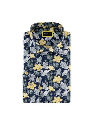 gents Shirts Overhemd print kolibri blauwgeel 0681