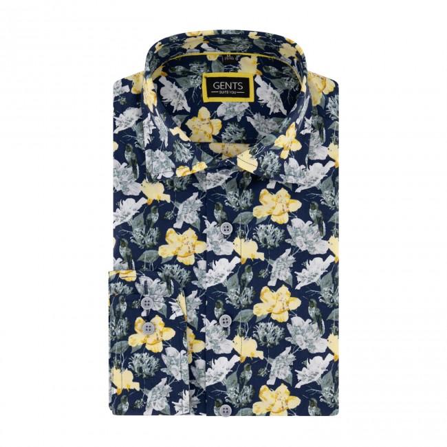 Overhemd print kolibri blauwgeel 0681  GENTS.nl   Hoogste kwaliteit voor de laagste prijs