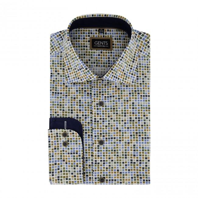 Overhemd print hokjes multicolor 0720| GENTS.nl | Hoogste kwaliteit voor de laagste prijs