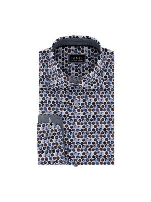 Overhemd print cirkels blauwrood 0721
