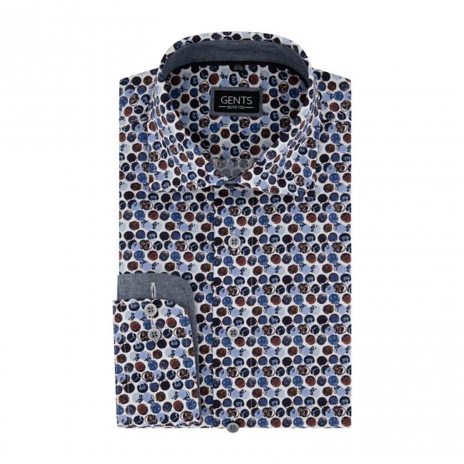 Overhemd print cirkels blauwrood 0721| GENTS.nl | Hoogste kwaliteit voor de laagste prijs