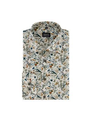 Overhemd print bloem ecru 0722| GENTS.nl | Hoogste kwaliteit voor de laagste prijs