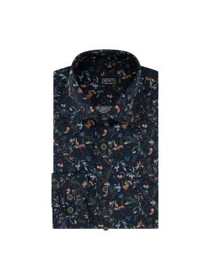 Overhemd print bloem navy 0723