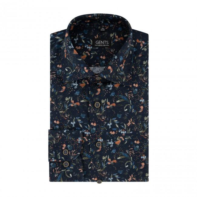 Overhemd print bloem navy 0723| GENTS.nl | Hoogste kwaliteit voor de laagste prijs