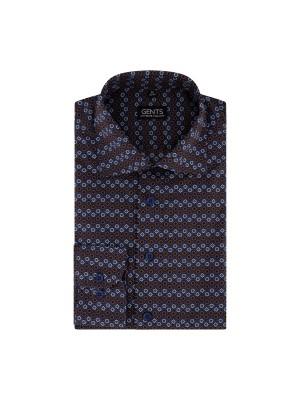 Overhemd bloempatroon blauw 0724