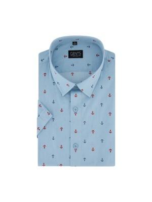 gents Shirts Korte mouw anker lichtblauw 0725